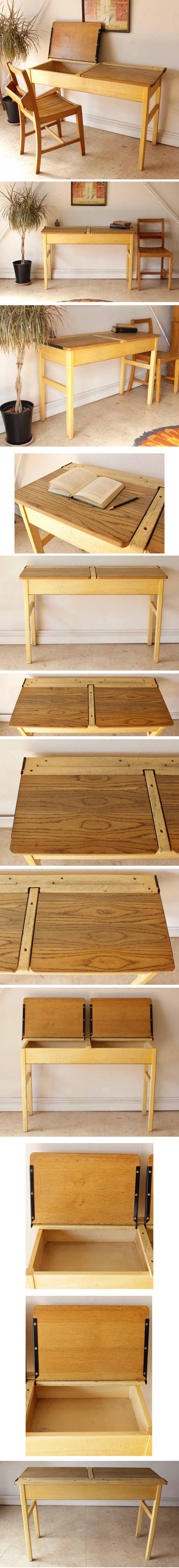 イギリス製ビンテージ・ダブルスクールデスク学習机【大人もOK】【再入荷】アンティーク・ブロカント・年代物