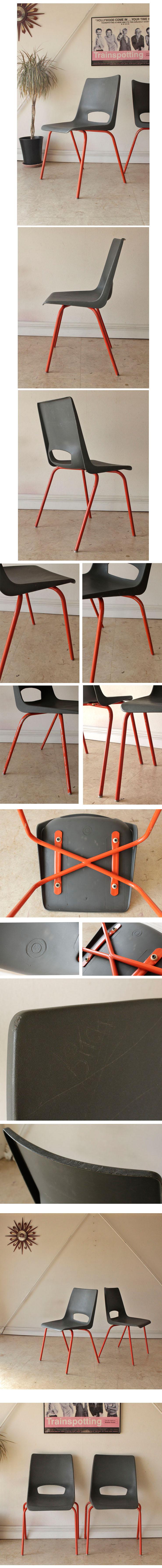 イギリス製ビンテージ・スタッキングチェア2脚セット・ミッドセンチュリー家具