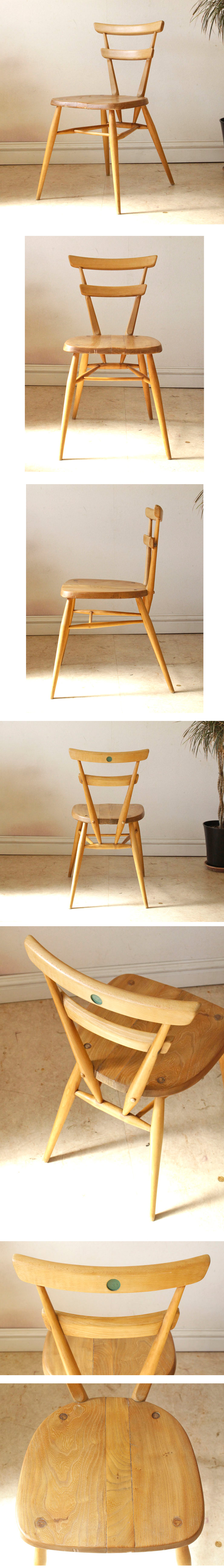ERCOLアーコール・スタッキングチェア大人用・グリーンドット/イギリス製ビンテージ・アンティーク輸入家具