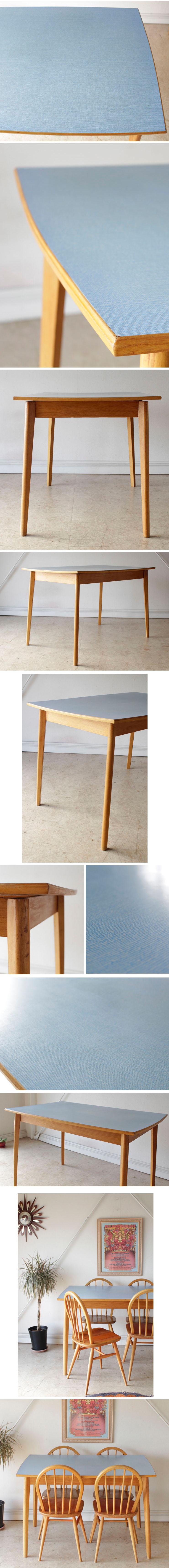 イギリス製ビンテージ・Formicaフォーマイカ・ダイニングテーブル・机【ブルー】アンティーク家具・北欧