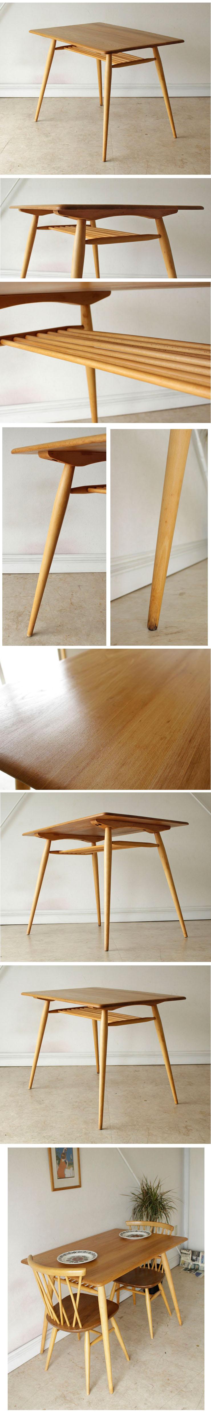 アーコール・ERCOL・ダイニングテーブル・マガジンラック・ナチュラル・無垢・ビンテージ・アンティーク・北欧