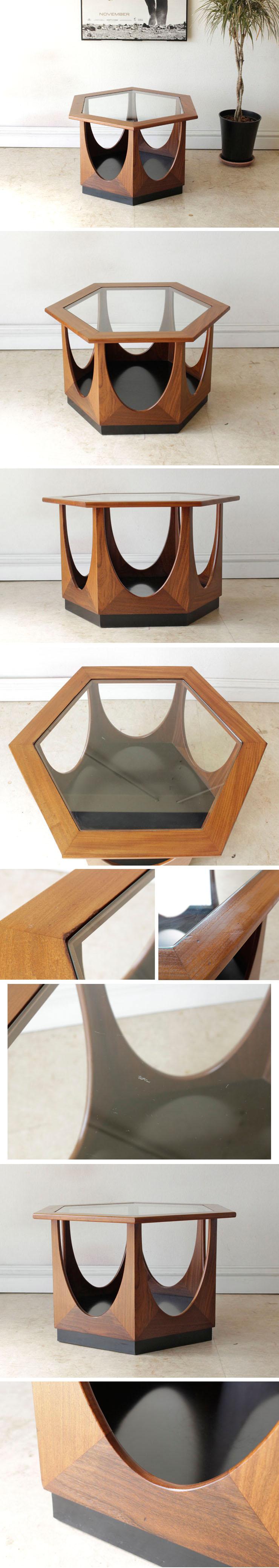 イギリス・コーヒーテーブル・センターテーブル・ジープラン・チーク・ガラス・ビンテージ・アンティーク・ミッドセンチュリー