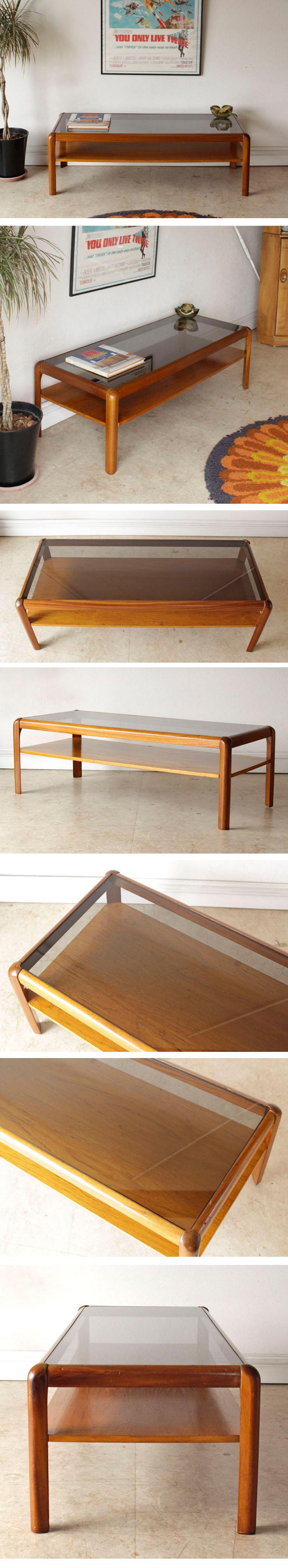 イギリス製・ビンテージ・ガラステーブル・コーヒーテーブル・ガラス・アンティーク・北欧