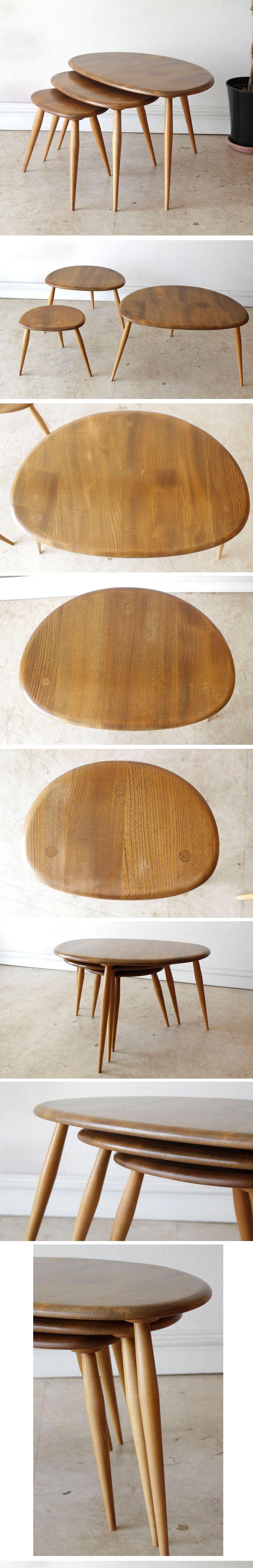 アーコール・ERCOL・コーヒーテーブル・ブラウン・ビンテージ・アンティーク・北欧・ネストテーブル