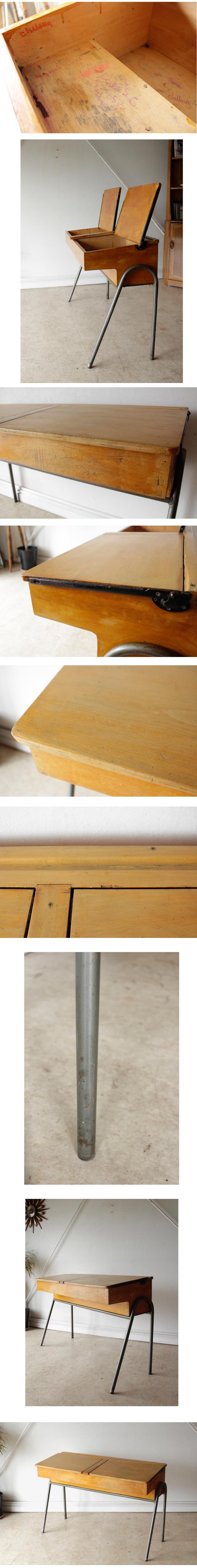 イギリス製ビンテージ・ダブルスクールデスク学習机【大人もOK】アンティーク・ブロカント・年代物