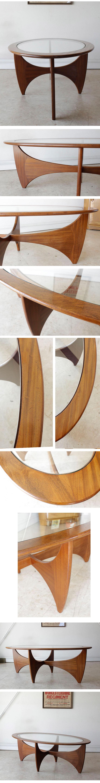 イギリス製・G-plan・ジープラン・オーバル・センターテーブル・チーク・ガラス・ビンテージ・アンティーク