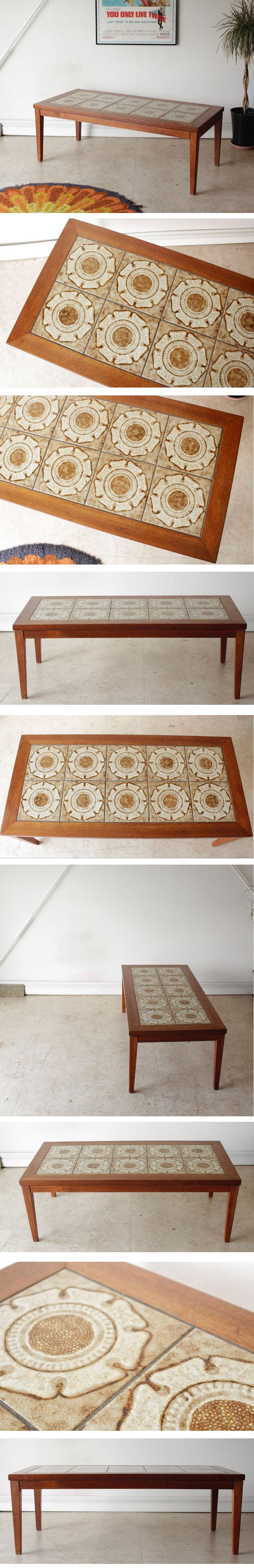 イギリス製・ビンテージ・タイルテーブル・コーヒーテーブル・センターテーブル・北欧・アンティーク