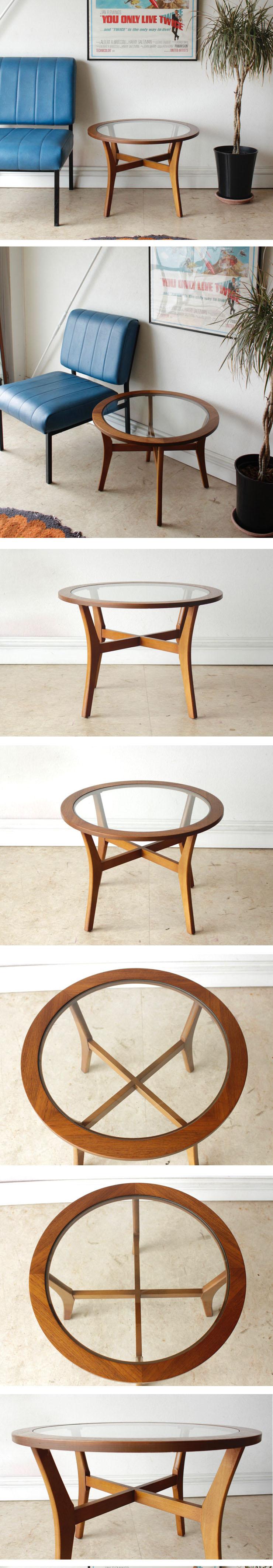 イギリス製・ビンテージ・ガラステーブル・ラウンドテーブル・アンティーク・北欧