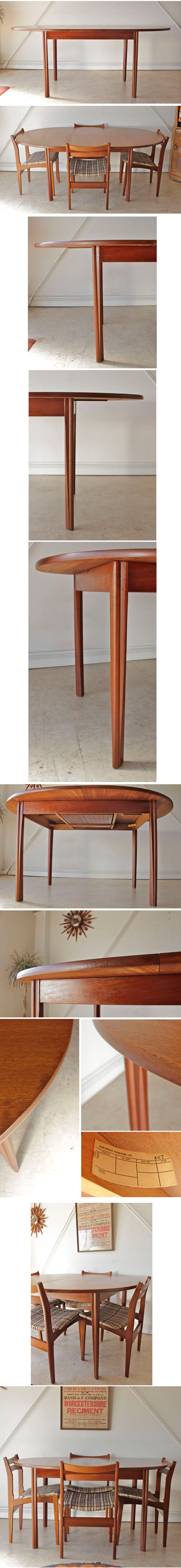 Portwood furniture ポートウッドファニチャー・伸張式ダイニングテーブル5点セット・椅子・イギリス北欧ビンテージ家具014017