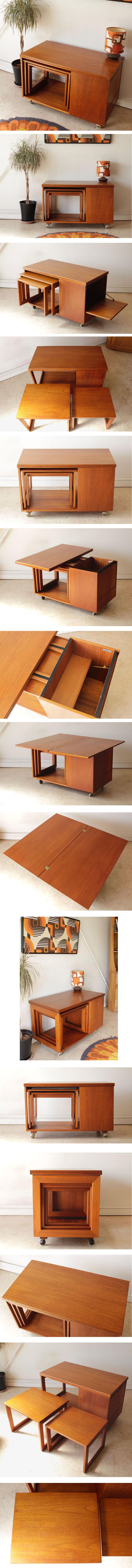 イギリス製・ビンテージ・マッキントッシュ・ネストテーブル・机・チーク・アンティーク