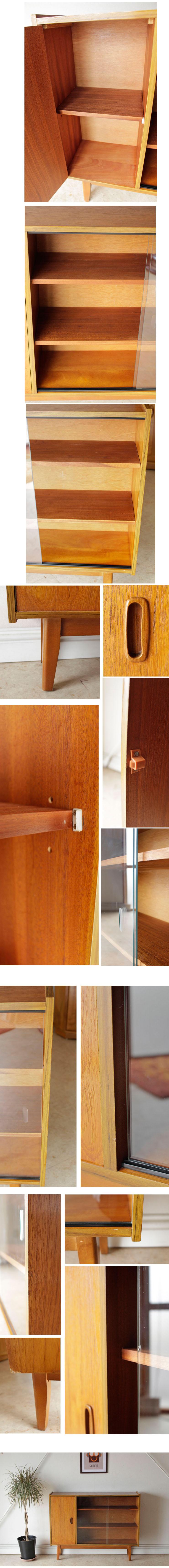 ビンテージチーク・ガラス・ブックケース本棚キャビネット/イギリス製アンティーク014026