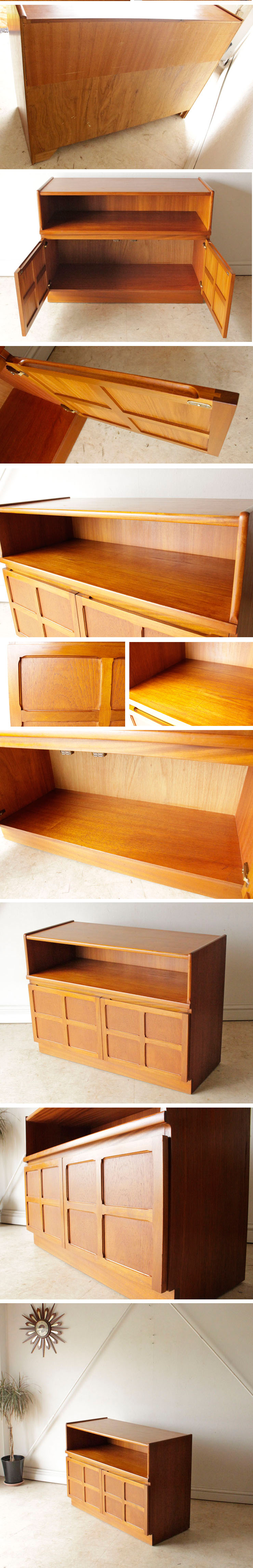 ネイサン・ビンテージ・チーク・サイドボード・キャビネット・食器棚・Nathan・北欧・アンティーク