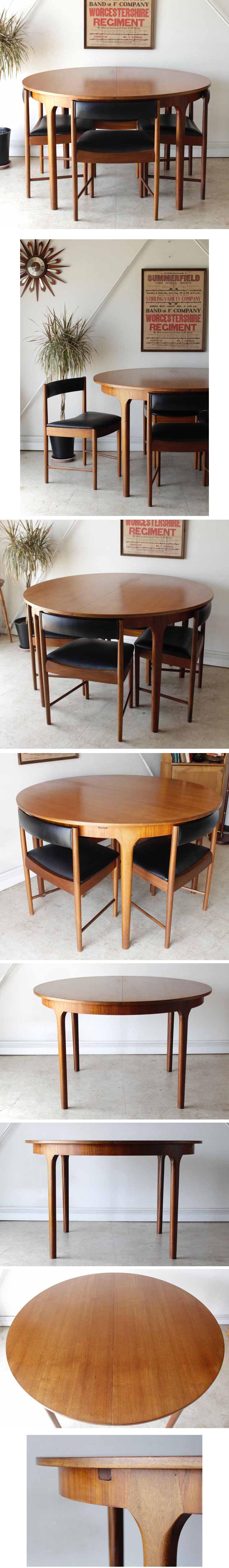イギリス製ビンテージ家具McIntosh製ダイニングテーブル&ダイニングチェア5点セット・ビンテージ・アンティーク北欧デザイン