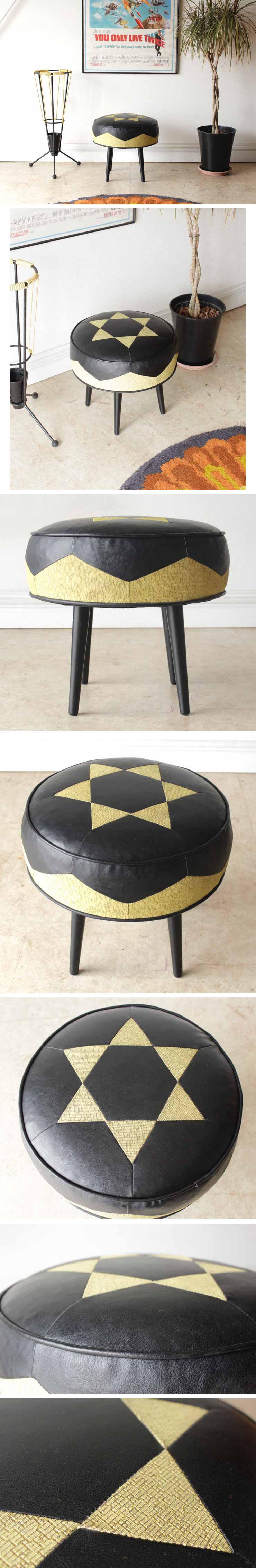 イギリス・オットマン・フットスツール・椅子・ビンテージ・アンティーク・ブロカント
