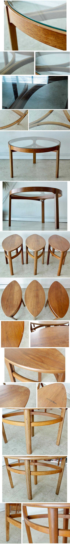 ネイサン・ネストテーブル・ガラス・サークル・チーク・コーヒーテーブル・ビンテージ・アンティーク・北欧・イギリス