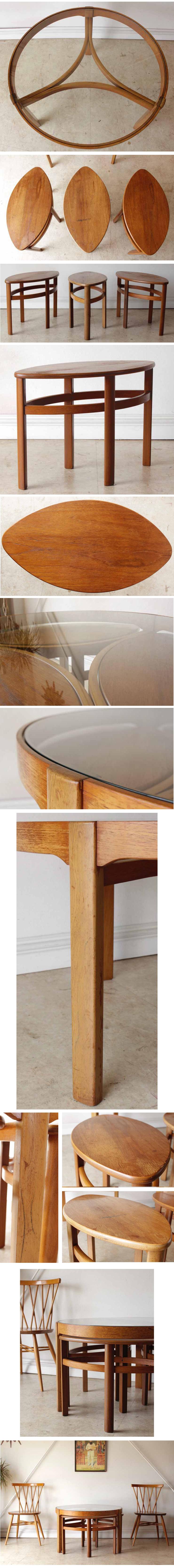 Nathanネイサン製ガラス天板ネストテーブル【チーク】イギリス製ビンテージ/ミッドセンチュリー輸入アンティーク家具
