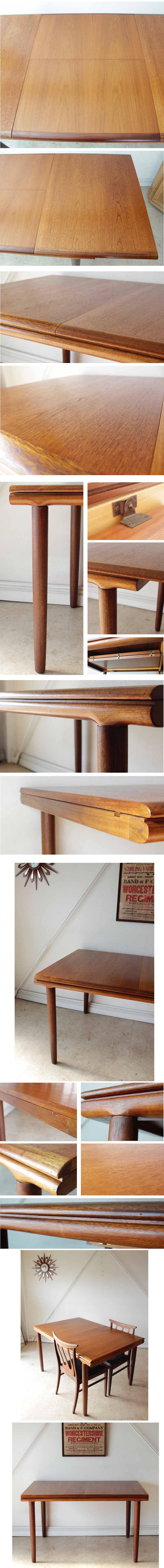 イギリス製【伸張式】ダイニングテーブル・エクステンション・食卓/ビンテージ・アンティーク・北欧家具