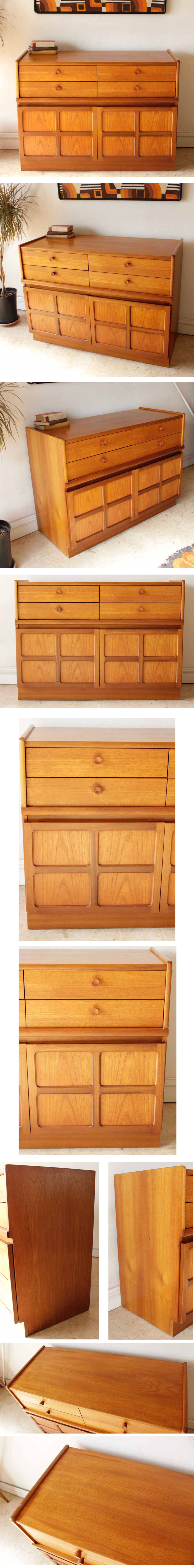 イギリス製【ネイサン】ビンテージチーク・サイドボード収納キャビネット食器棚Nathan社・北欧アンティーク