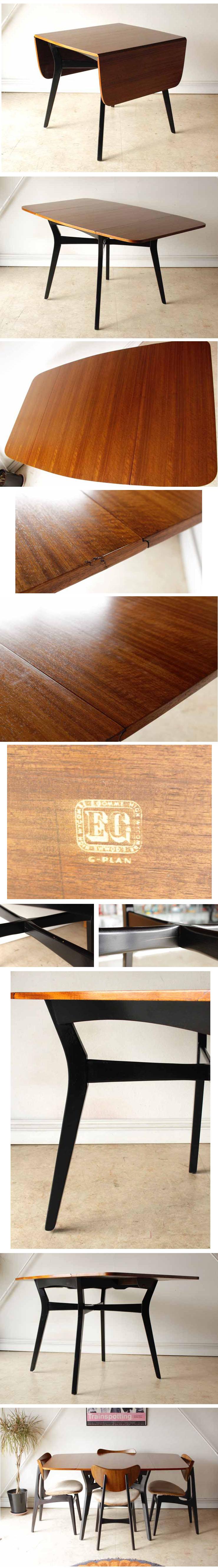 ジープラン・ダイニングテーブル・バタフライ・ドロップリーフ・ビンテージ・アンティーク・年代物