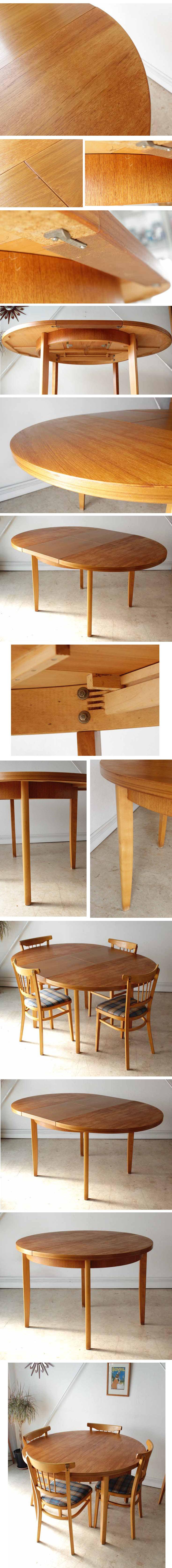 イギリス・ダイニングテーブル・エクステンション・チーク・伸張式・ビンテージ・アンティーク・円卓