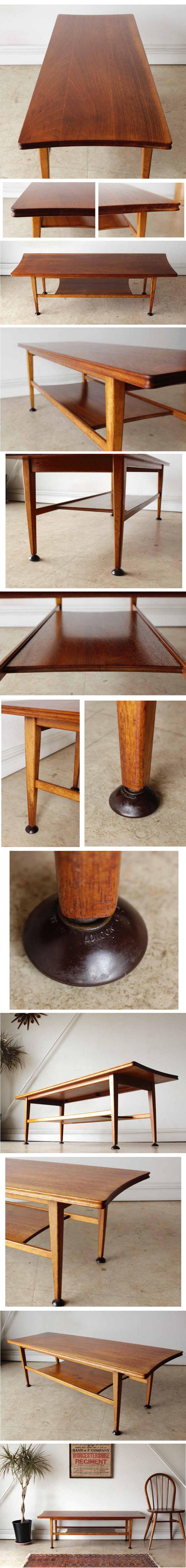 コーヒーテーブル・センターテーブル・チーク・マガジンラック・イギリス・ビンテージ・ミッドセンチュリー・北欧