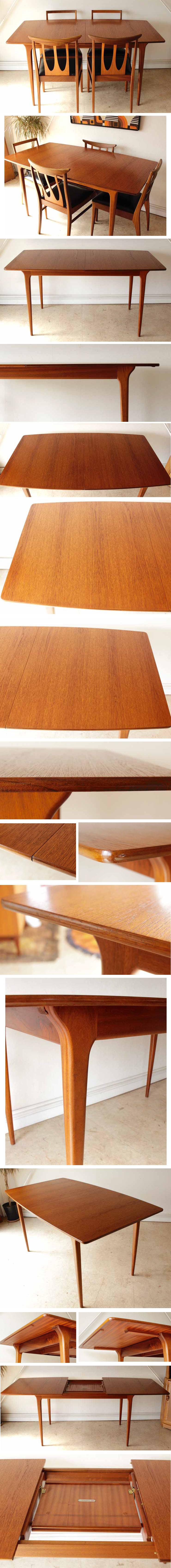 マッキントッシュ・ダイニングテーブル・エクステンション・伸張式・ミッドセンチュリー・ビンテージ・インテリア