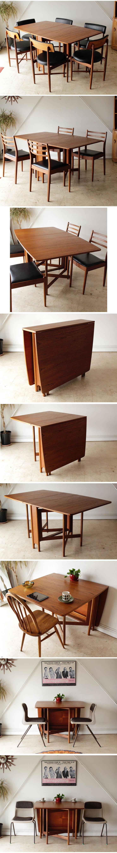 マッキントッシュ・Macintosh・ダイニングテーブル・ドロップリーフ・ゲートレッグ・チーク・ビンテージ・北欧・ミッドセンチュリー