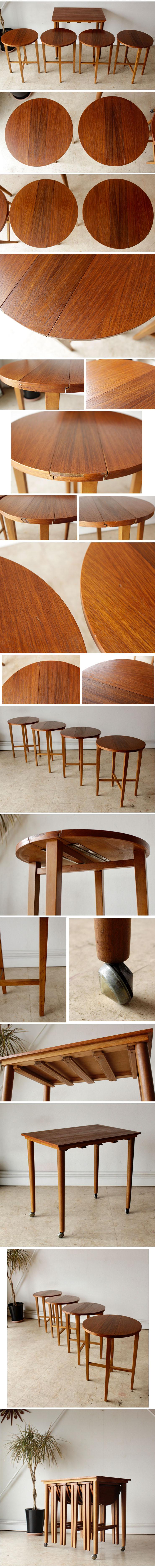 ビンテージ・ネストテーブル・コーヒーテーブル・デンマーク・北欧・アンティーク・チーク